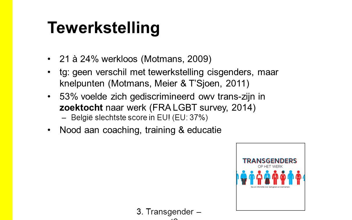 Tewerkstelling 21 à 24% werkloos (Motmans, 2009) tg: geen verschil met tewerkstelling cisgenders, maar knelpunten (Motmans, Meier & T'Sjoen, 2011) 53% voelde zich gediscrimineerd owv trans-zijn in zoektocht naar werk (FRA LGBT survey, 2014) –België slechtste score in EU.
