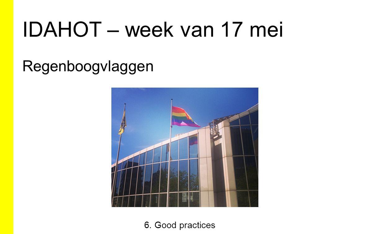 IDAHOT – week van 17 mei Regenboogvlaggen 6. Good practices