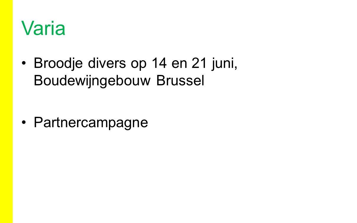 Broodje divers op 14 en 21 juni, Boudewijngebouw Brussel Partnercampagne Varia