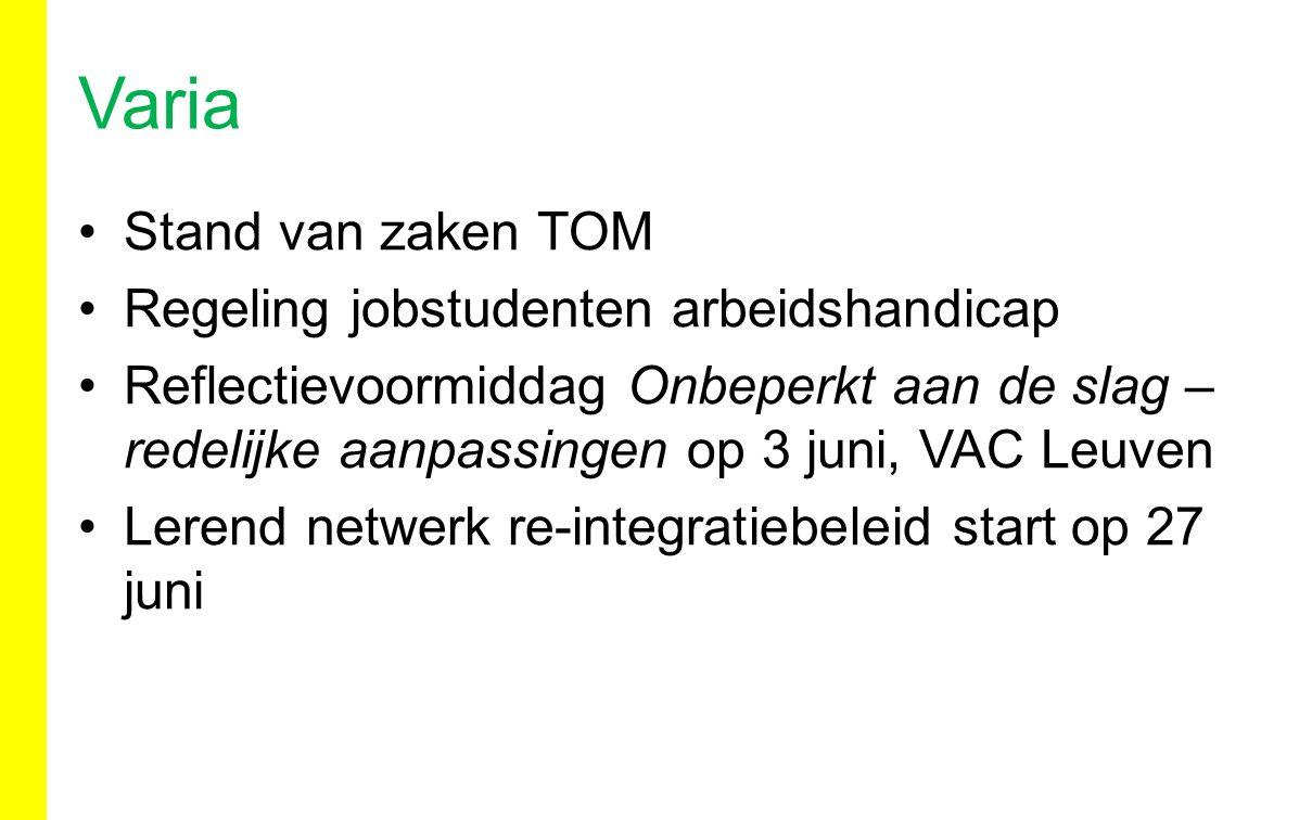 Stand van zaken TOM Regeling jobstudenten arbeidshandicap Reflectievoormiddag Onbeperkt aan de slag – redelijke aanpassingen op 3 juni, VAC Leuven Ler