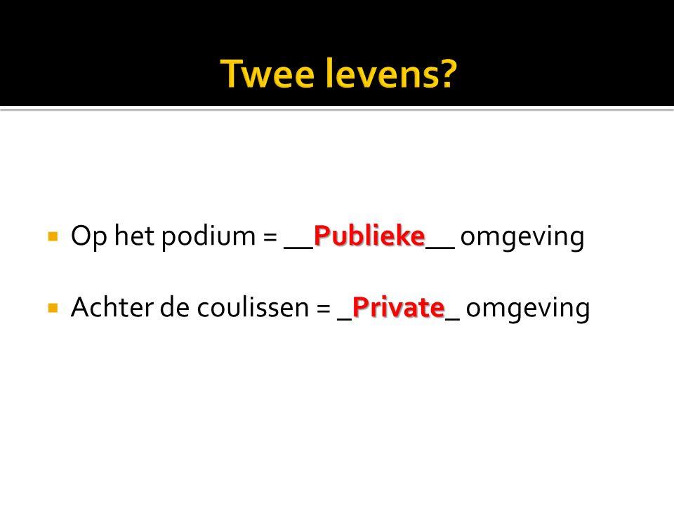 Publieke  Op het podium = __Publieke__ omgeving Private  Achter de coulissen = _Private_ omgeving