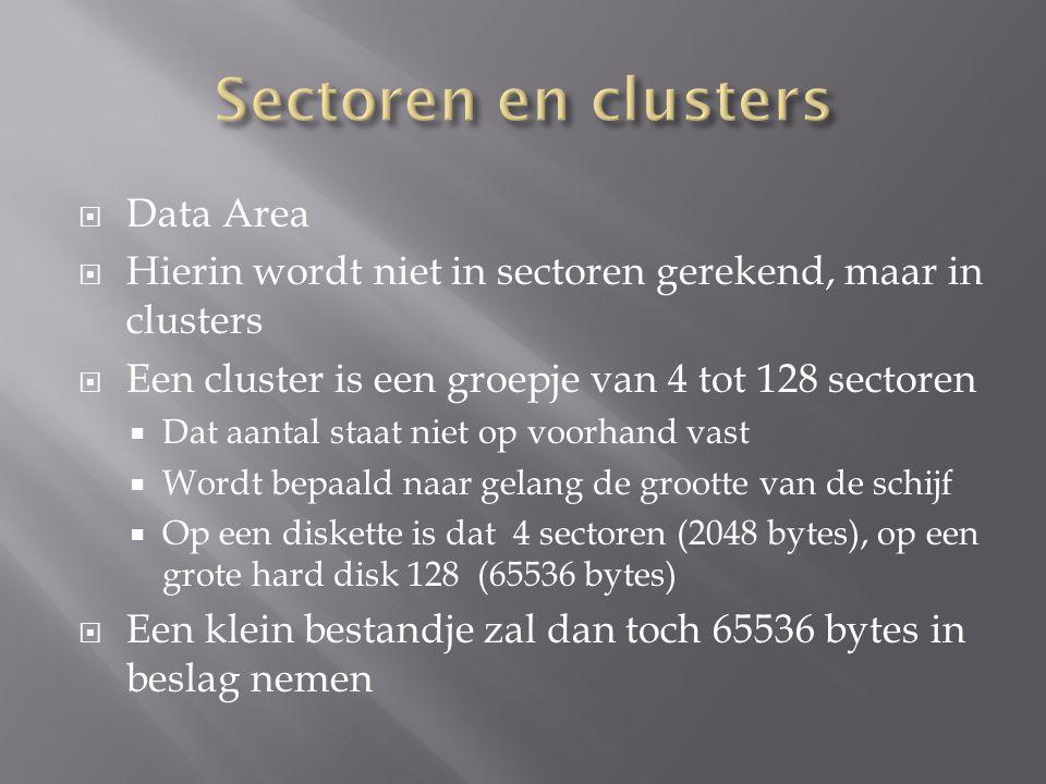  Data Area  Hierin wordt niet in sectoren gerekend, maar in clusters  Een cluster is een groepje van 4 tot 128 sectoren  Dat aantal staat niet op voorhand vast  Wordt bepaald naar gelang de grootte van de schijf  Op een diskette is dat 4 sectoren (2048 bytes), op een grote hard disk 128 (65536 bytes)  Een klein bestandje zal dan toch 65536 bytes in beslag nemen