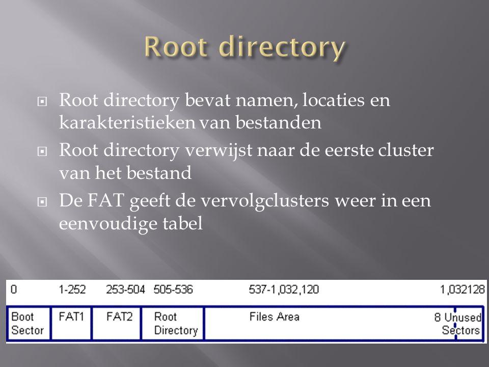 BytesBetekenis 0-7Naam 8-10Extensie 11Attribuut 01: Read Only, 02:Hidden, 04:System, 10 Subdirectory, 20: Archive 12-21Geserveerd: (Create time, date, access date in FAT 32) 22-23Tijd (bitpatroon=hhhhh mmmmmm sssss) 24-25Datum (bitpatroon=jjjjjjj mmmm ddddd) 26-27First cluster 28-31Grootte van het bestand.