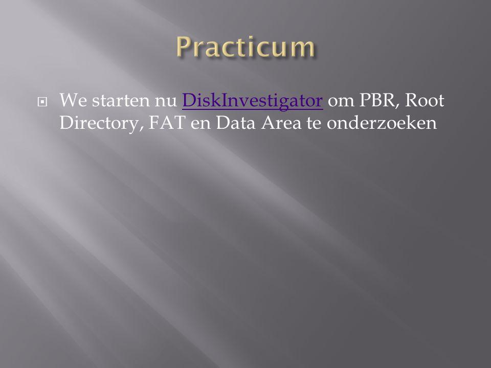  We starten nu DiskInvestigator om PBR, Root Directory, FAT en Data Area te onderzoekenDiskInvestigator