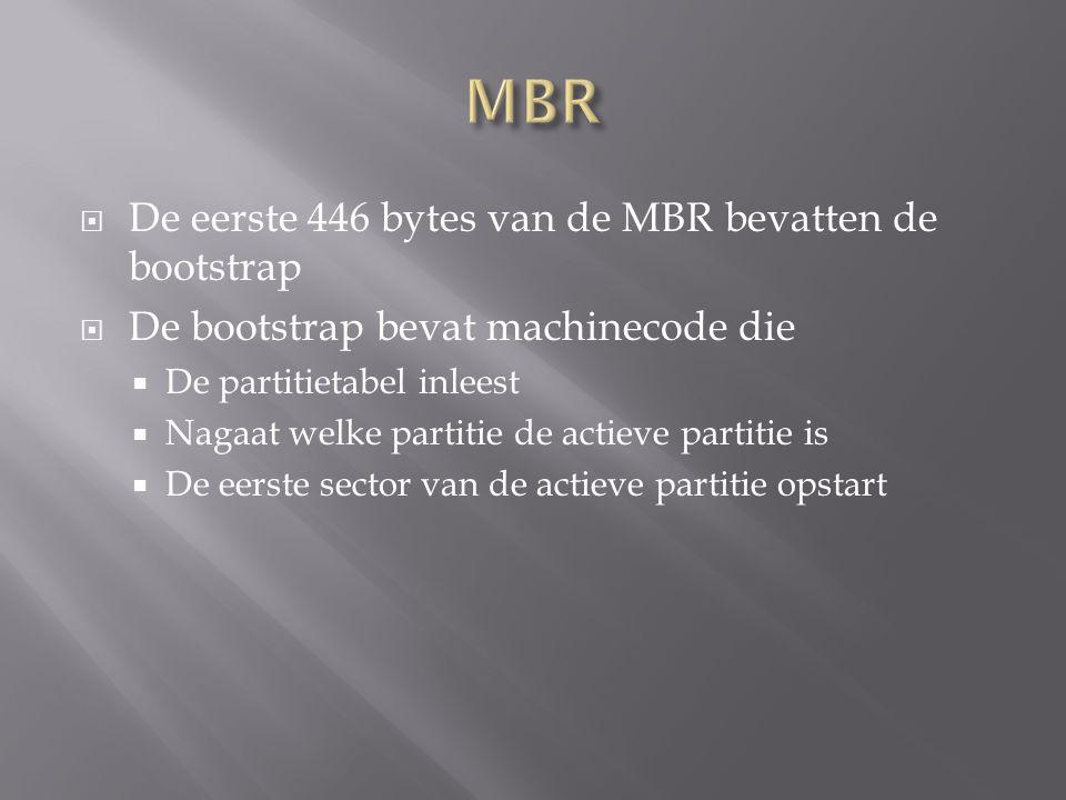  De eerste 446 bytes van de MBR bevatten de bootstrap  De bootstrap bevat machinecode die  De partitietabel inleest  Nagaat welke partitie de actieve partitie is  De eerste sector van de actieve partitie opstart