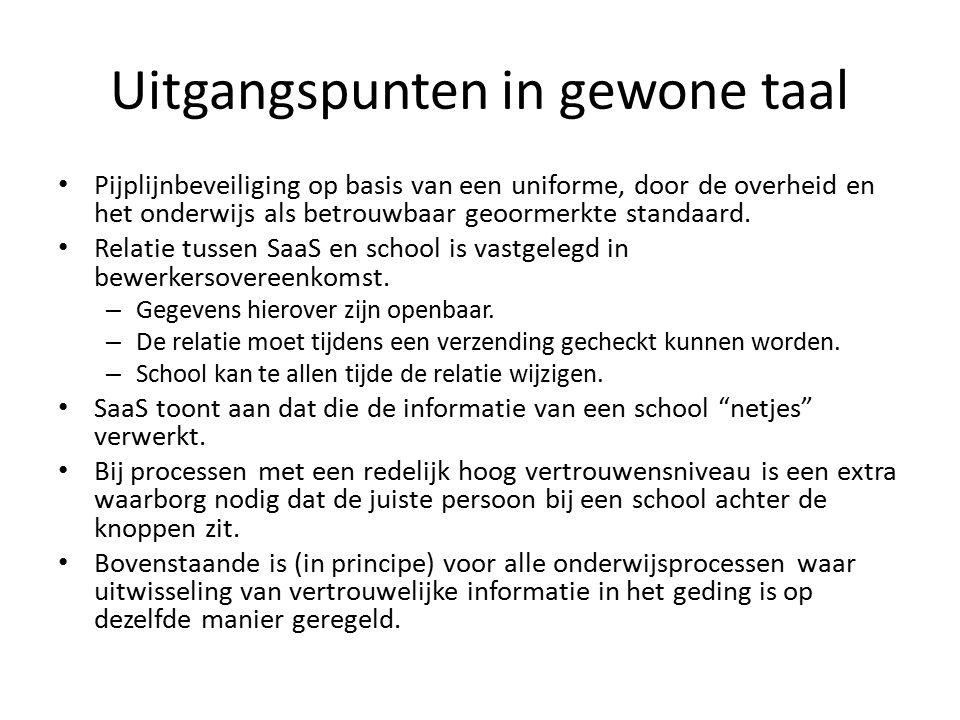 Uitgangspunten in gewone taal Pijplijnbeveiliging op basis van een uniforme, door de overheid en het onderwijs als betrouwbaar geoormerkte standaard.