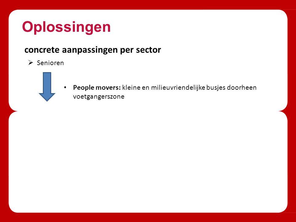Oplossingen concrete aanpassingen per sector  Senioren People movers: kleine en milieuvriendelijke busjes doorheen voetgangerszone