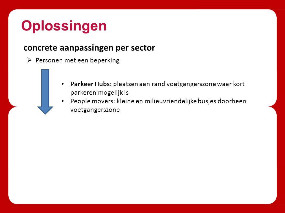 Oplossingen concrete aanpassingen per sector  Personen met een beperking Parkeer Hubs: plaatsen aan rand voetgangerszone waar kort parkeren mogelijk is People movers: kleine en milieuvriendelijke busjes doorheen voetgangerszone