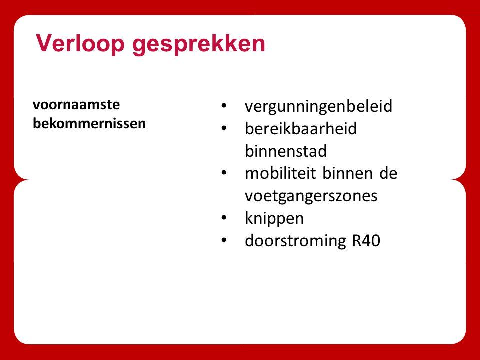 Verloop gesprekken voornaamste bekommernissen vergunningenbeleid bereikbaarheid binnenstad mobiliteit binnen de voetgangerszones knippen doorstroming R40
