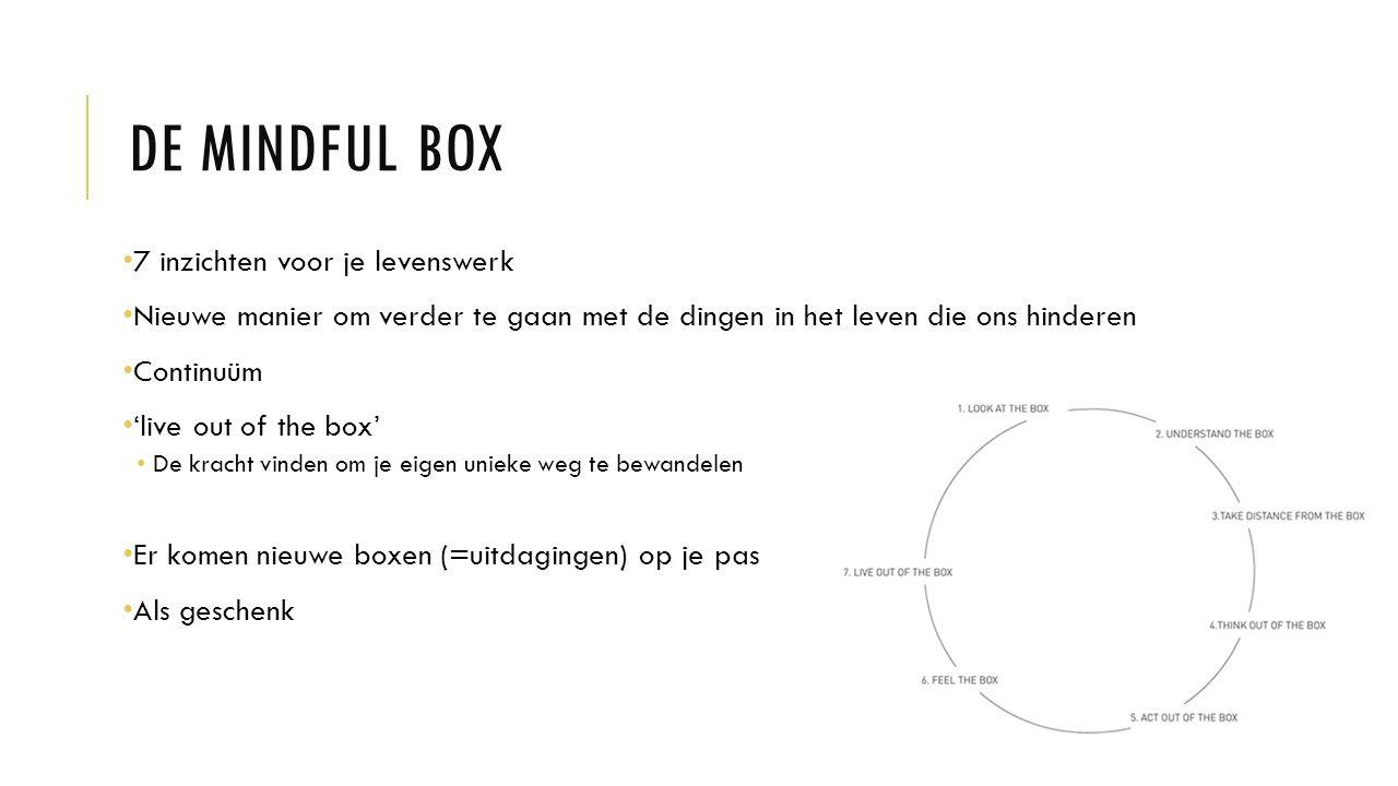 DE MINDFUL BOX 7 inzichten voor je levenswerk Nieuwe manier om verder te gaan met de dingen in het leven die ons hinderen Continuüm 'live out of the box' De kracht vinden om je eigen unieke weg te bewandelen Er komen nieuwe boxen (=uitdagingen) op je pas Als geschenk