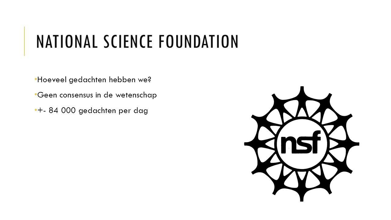 NATIONAL SCIENCE FOUNDATION Hoeveel gedachten hebben we.