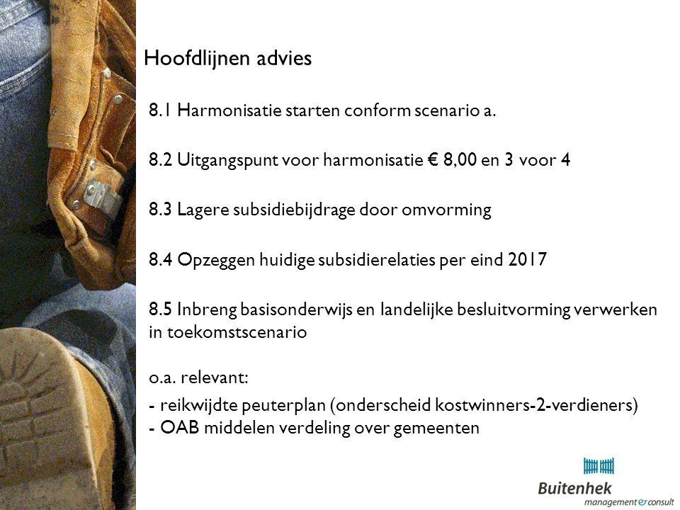 Hoofdlijnen advies 8.1 Harmonisatie starten conform scenario a.
