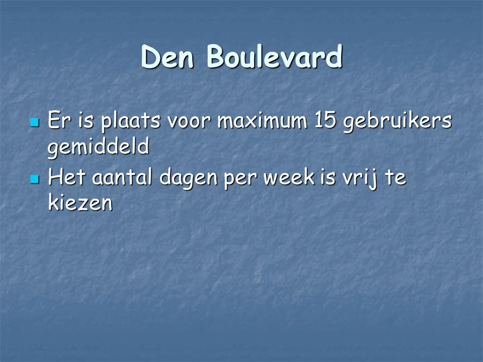 Den Boulevard Er is plaats voor maximum 15 gebruikers gemiddeld Er is plaats voor maximum 15 gebruikers gemiddeld Het aantal dagen per week is vrij te kiezen Het aantal dagen per week is vrij te kiezen