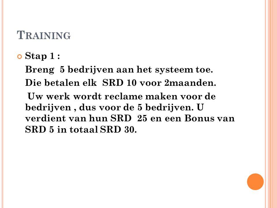 T RAINING Stap 1 : Breng 5 bedrijven aan het systeem toe.