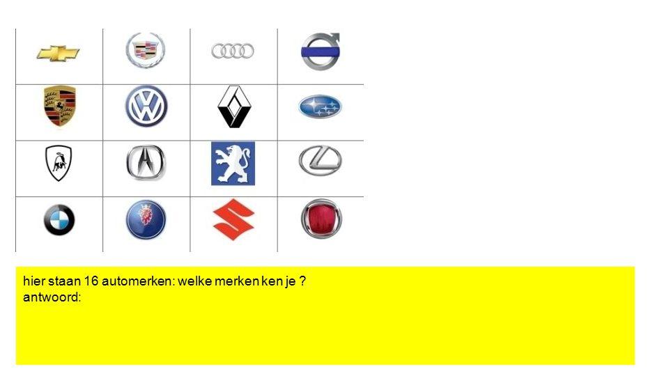 hier staan 16 automerken: welke merken ken je ? antwoord: