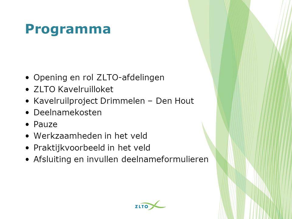 Programma Opening en rol ZLTO-afdelingen ZLTO Kavelruilloket Kavelruilproject Drimmelen – Den Hout Deelnamekosten Pauze Werkzaamheden in het veld Prak