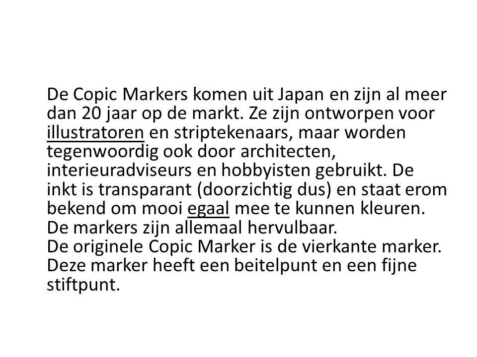 De Copic Markers komen uit Japan en zijn al meer dan 20 jaar op de markt. Ze zijn ontworpen voor illustratoren en striptekenaars, maar worden tegenwoo