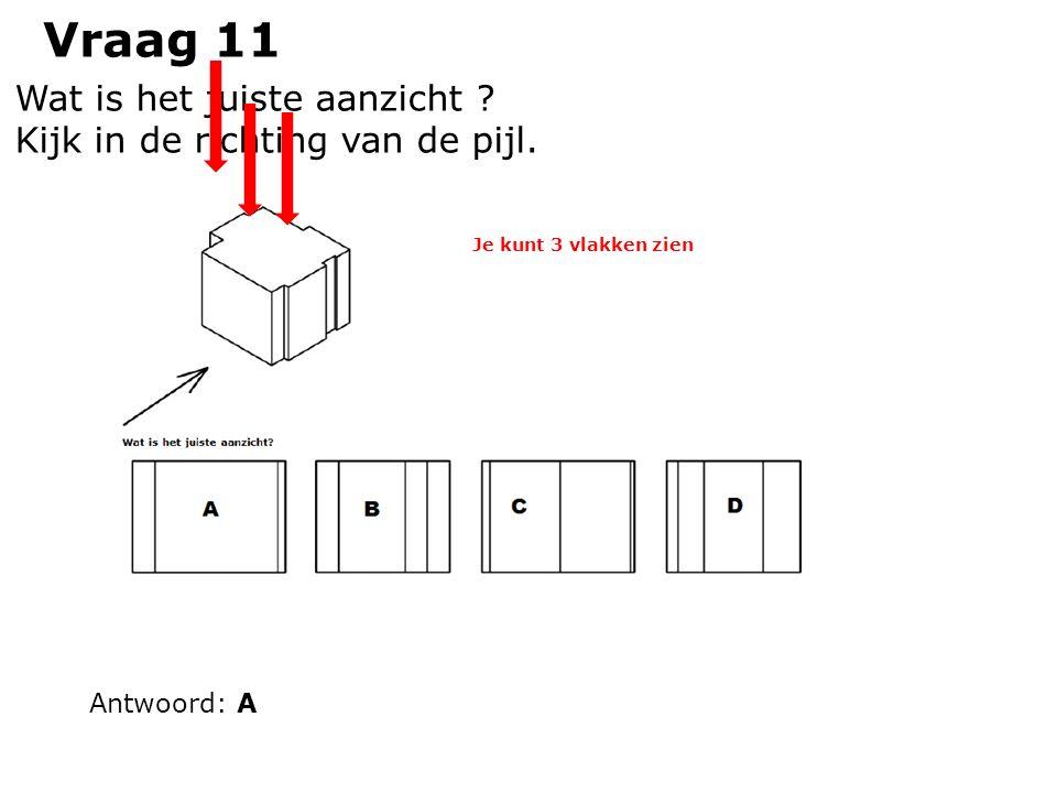 Vraag 11 Wat is het juiste aanzicht ? Kijk in de richting van de pijl. Antwoord: A Je kunt 3 vlakken zien