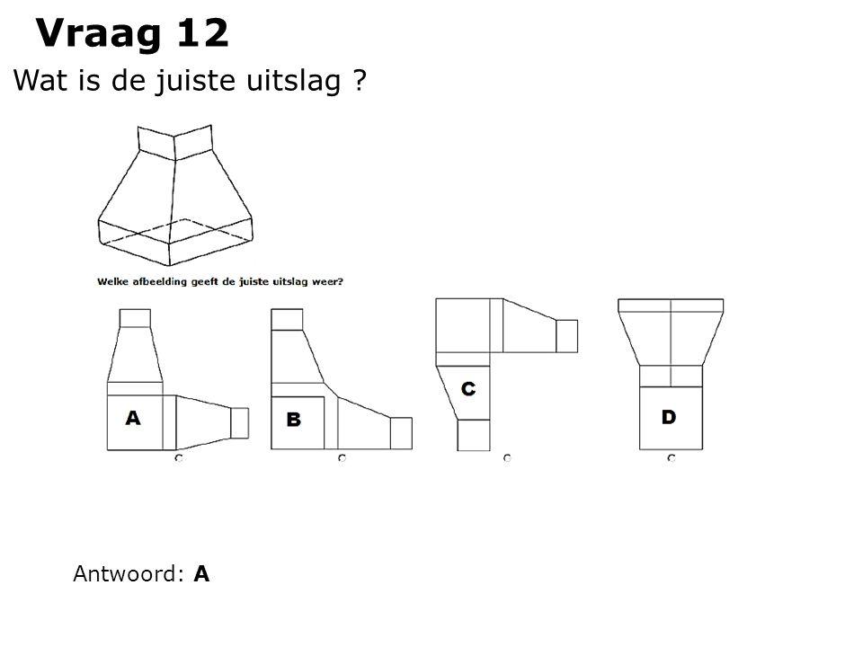 Vraag 12 Wat is de juiste uitslag ? Antwoord: A