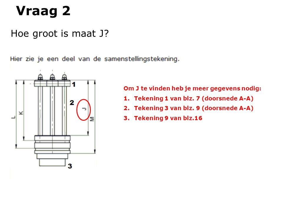 Vraag 2 Hoe groot is maat J? Om J te vinden heb je meer gegevens nodig: 1.Tekening 1 van blz. 7 (doorsnede A-A) 2.Tekening 3 van blz. 9 (doorsnede A-A