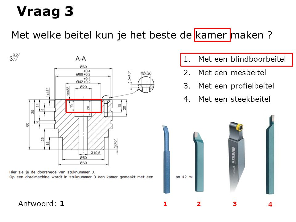 Vraag 3 Antwoord: 1 Met welke beitel kun je het beste de kamer maken ? 1.Met een blindboorbeitel 2.Met een mesbeitel 3.Met een profielbeitel 4.Met een