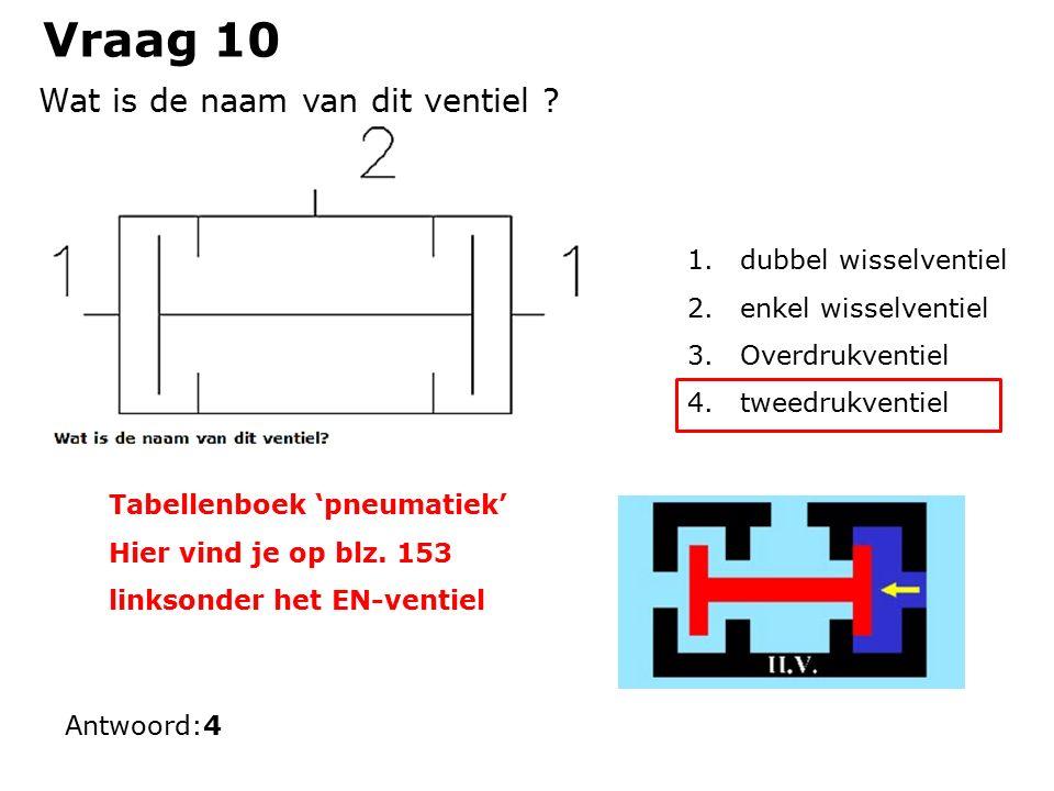 Vraag 10 1.dubbel wisselventiel 2.enkel wisselventiel 3.Overdrukventiel 4.tweedrukventiel Antwoord:4 Wat is de naam van dit ventiel .