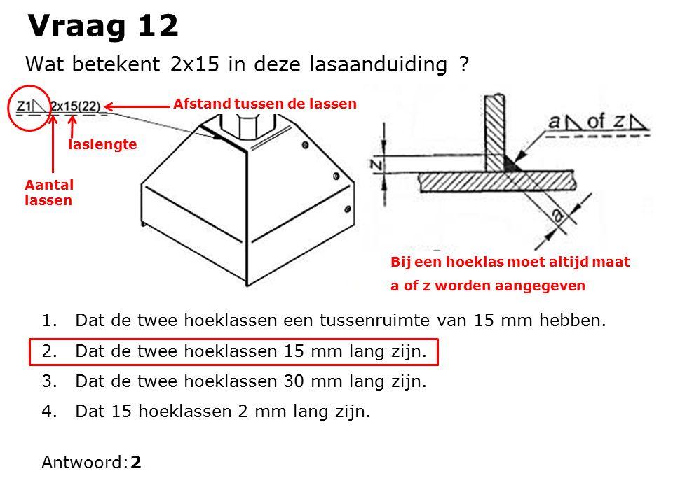 Vraag 12 1.Dat de twee hoeklassen een tussenruimte van 15 mm hebben.