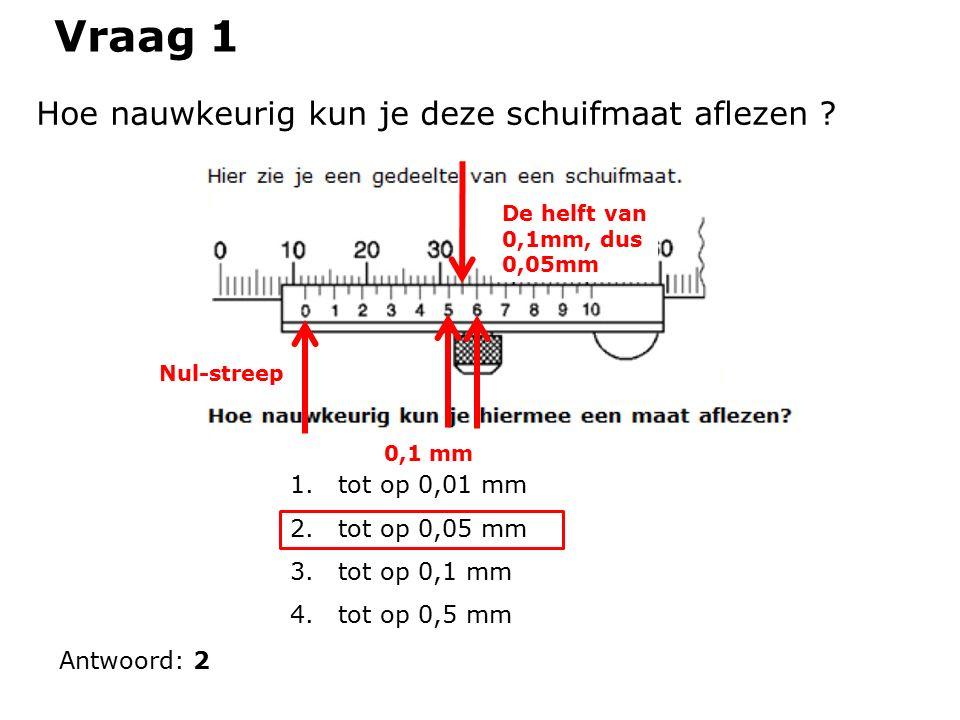 Vraag 1 Hoe nauwkeurig kun je deze schuifmaat aflezen .