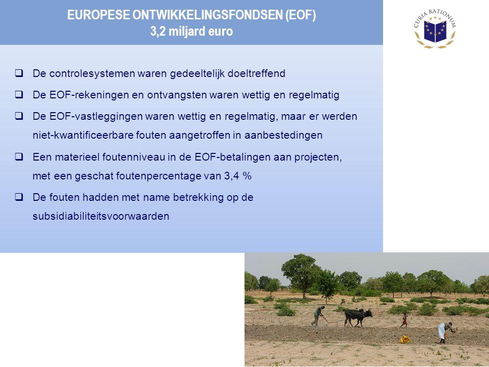 EUROPESE ONTWIKKELINGSFONDSEN (EOF) 3,2 miljard euro  De controlesystemen waren gedeeltelijk doeltreffend  De EOF-rekeningen en ontvangsten waren wettig en regelmatig  De EOF-vastleggingen waren wettig en regelmatig, maar er werden niet-kwantificeerbare fouten aangetroffen in aanbestedingen  Een materieel foutenniveau in de EOF-betalingen aan projecten, met een geschat foutenpercentage van 3,4 %  De fouten hadden met name betrekking op de subsidiabiliteitsvoorwaarden