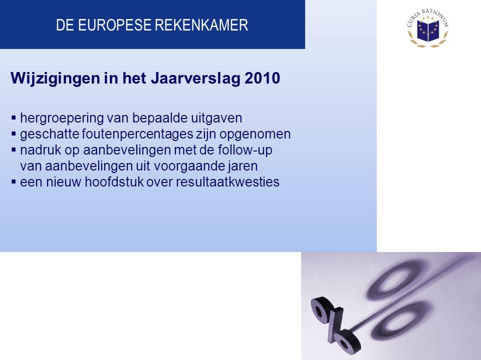 DE EUROPESE REKENKAMER Wijzigingen in het Jaarverslag 2010  hergroepering van bepaalde uitgaven  geschatte foutenpercentages zijn opgenomen  nadruk op aanbevelingen met de follow-up van aanbevelingen uit voorgaande jaren  een nieuw hoofdstuk over resultaatkwesties