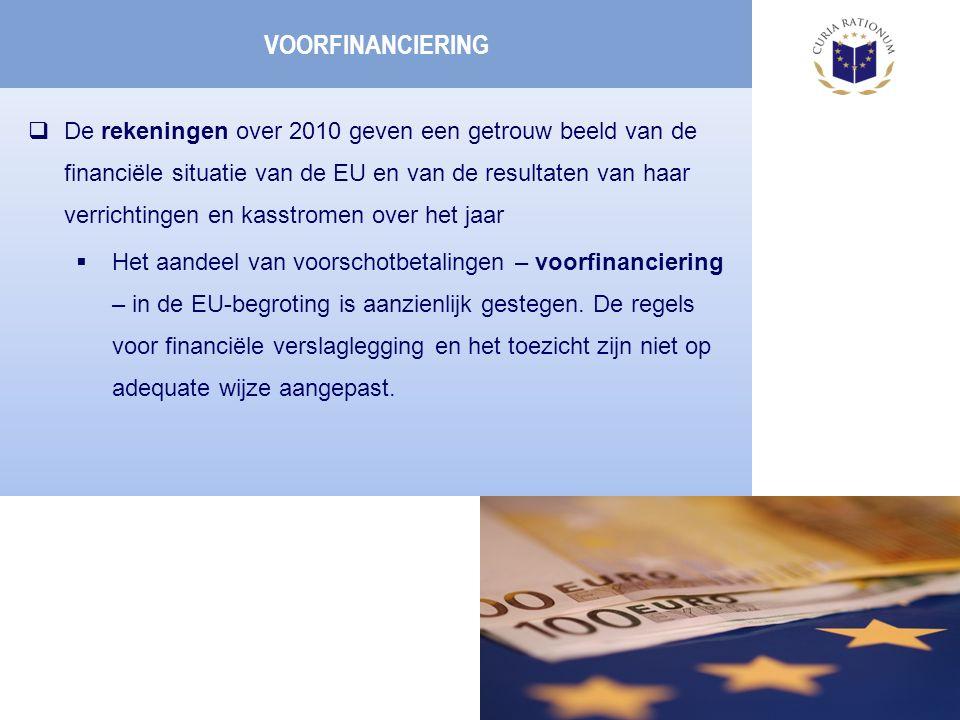  De rekeningen over 2010 geven een getrouw beeld van de financiële situatie van de EU en van de resultaten van haar verrichtingen en kasstromen over het jaar  Het aandeel van voorschotbetalingen – voorfinanciering – in de EU-begroting is aanzienlijk gestegen.