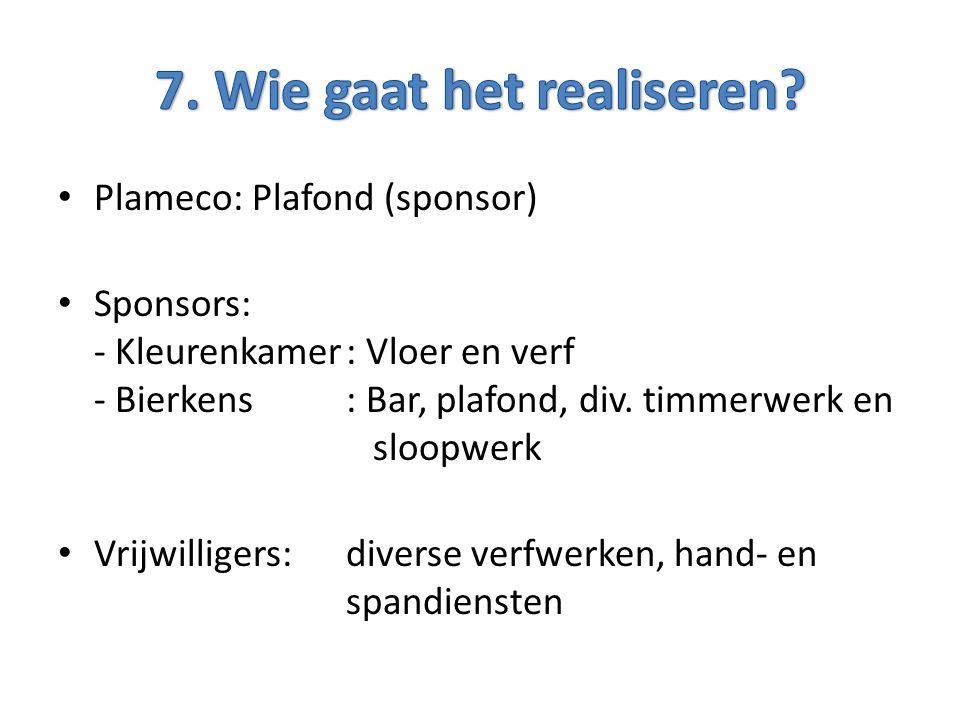 Plameco: Plafond (sponsor) Sponsors: - Kleurenkamer: Vloer en verf - Bierkens: Bar, plafond, div.