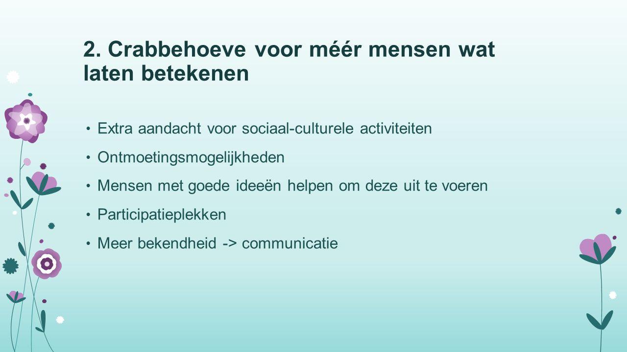 2. Crabbehoeve voor méér mensen wat laten betekenen Extra aandacht voor sociaal-culturele activiteiten Ontmoetingsmogelijkheden Mensen met goede ideeë