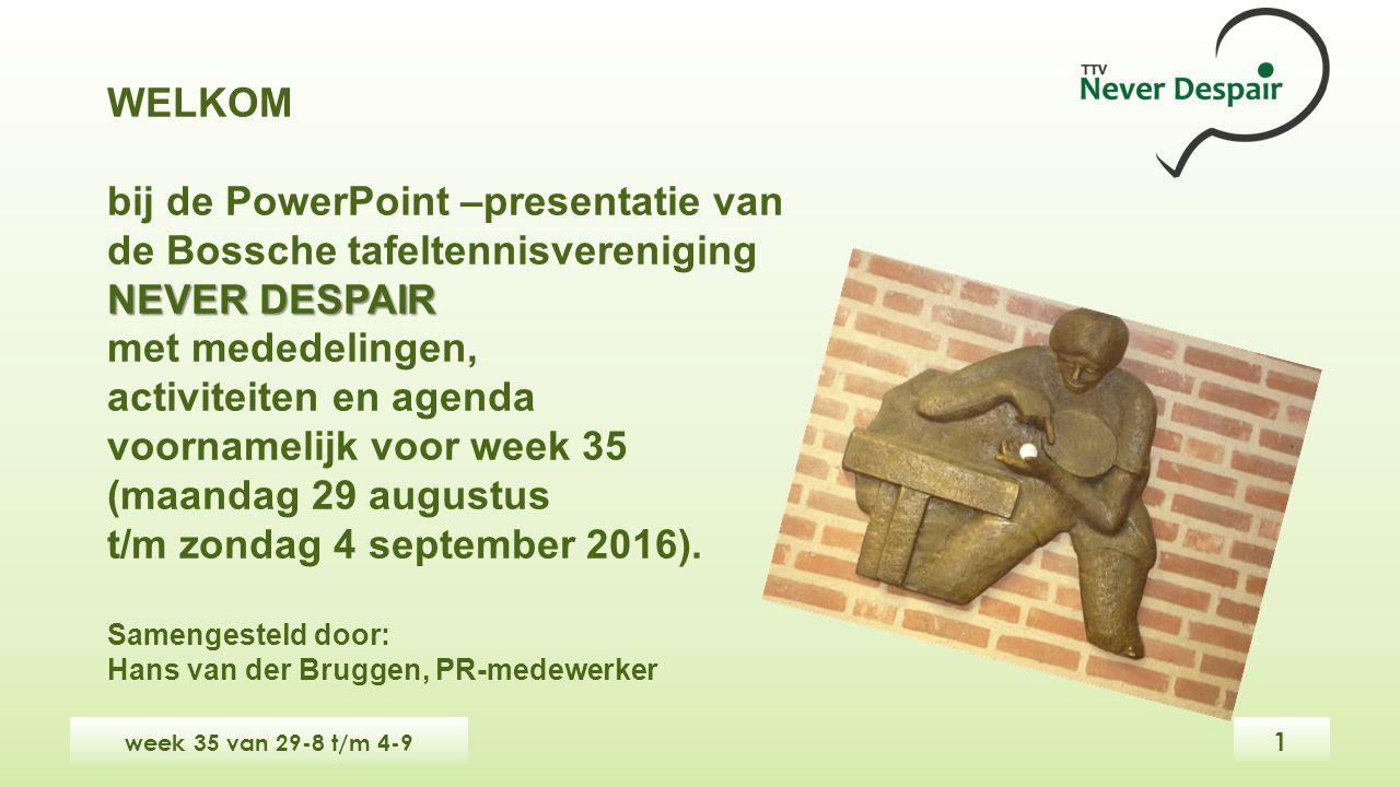WELKOM bij de PowerPoint –presentatie van de Bossche tafeltennisvereniging NEVER DESPAIR met mededelingen, activiteiten en agenda voornamelijk voor week 35 (maandag 29 augustus t/m zondag 4 september 2016).