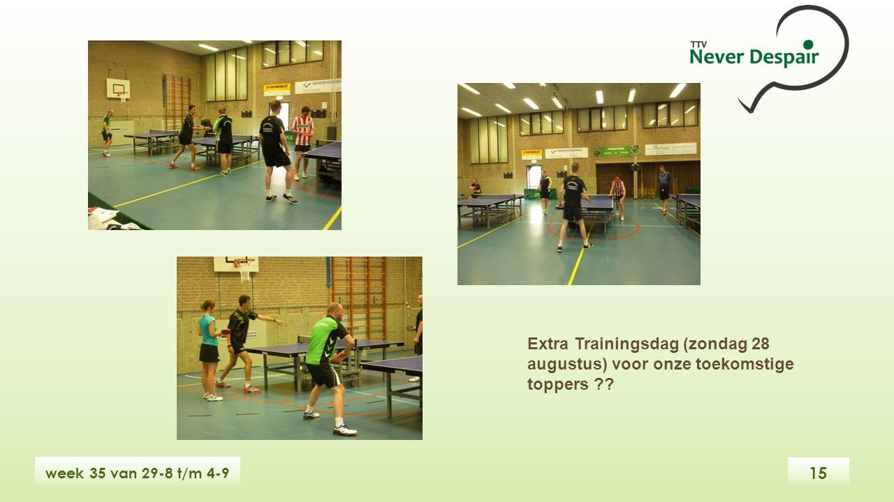 15 week 35 van 29-8 t/m 4-9 Extra Trainingsdag (zondag 28 augustus) voor onze toekomstige toppers ??