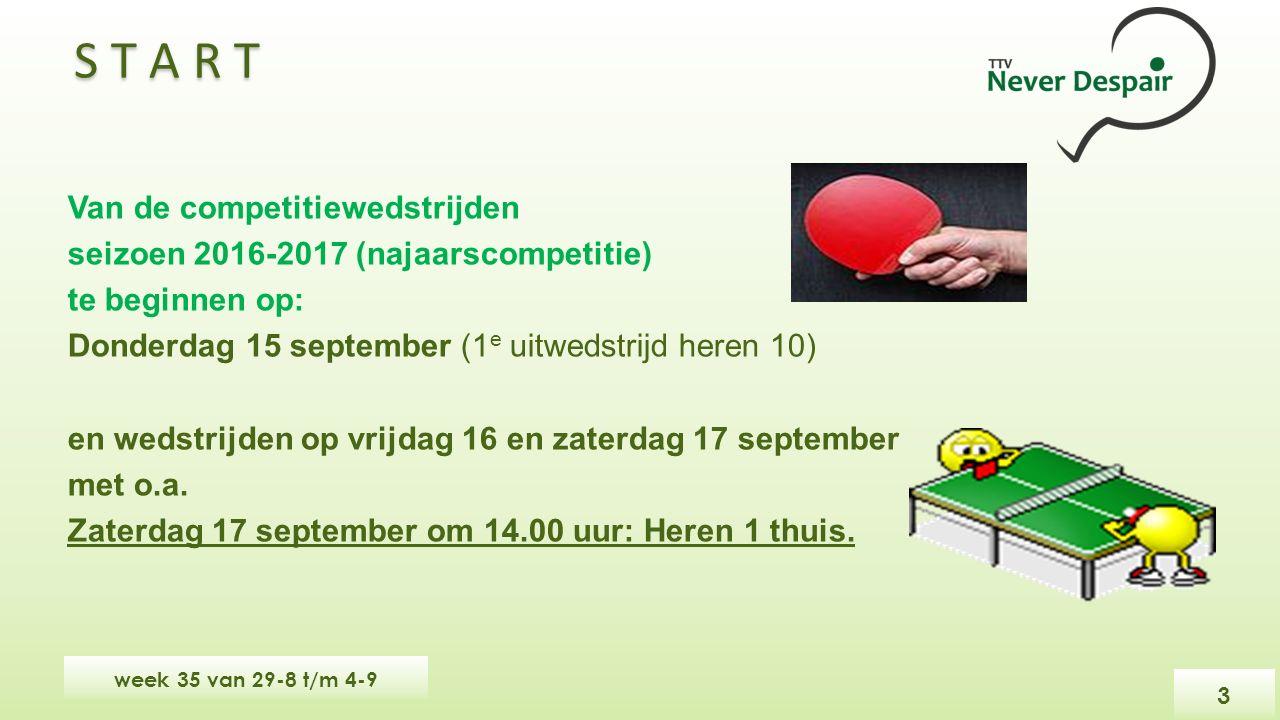 S T A R T Van de competitiewedstrijden seizoen 2016-2017 (najaarscompetitie) te beginnen op: Donderdag 15 september (1 e uitwedstrijd heren 10) en wedstrijden op vrijdag 16 en zaterdag 17 september met o.a.