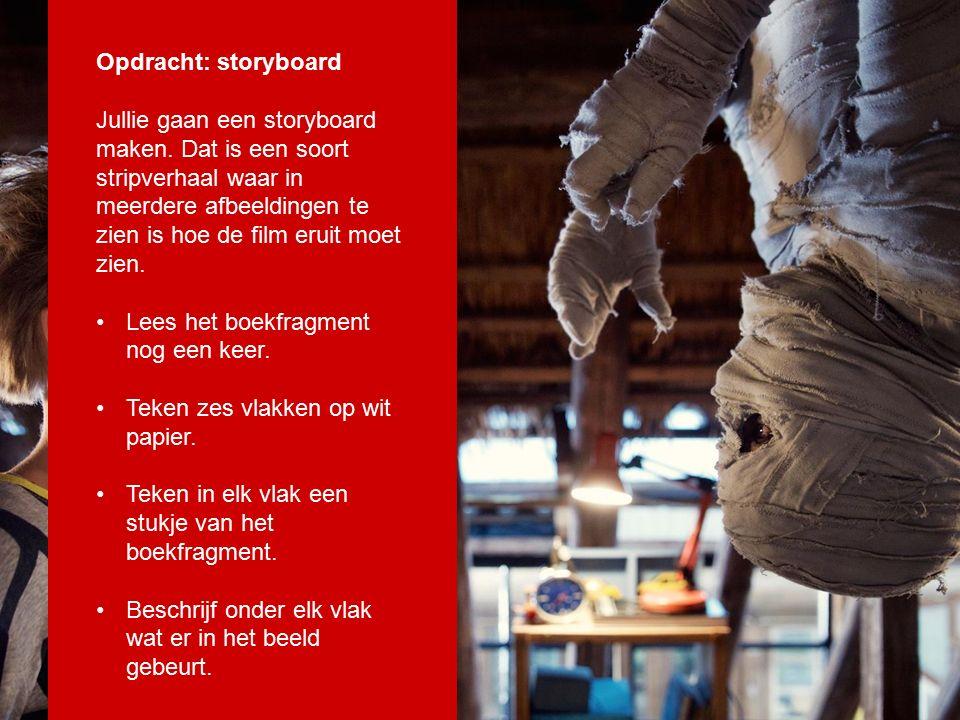 Opdracht: storyboard Jullie gaan een storyboard maken.