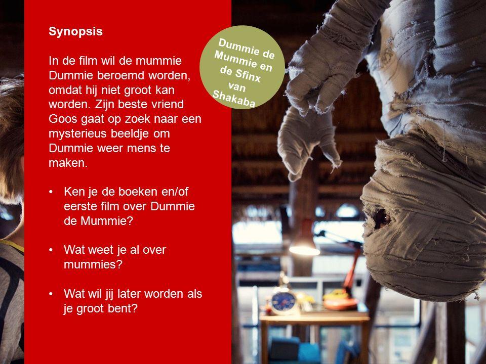 Dummie de Mummie en de Sfinx van Shakaba Synopsis In de film wil de mummie Dummie beroemd worden, omdat hij niet groot kan worden.