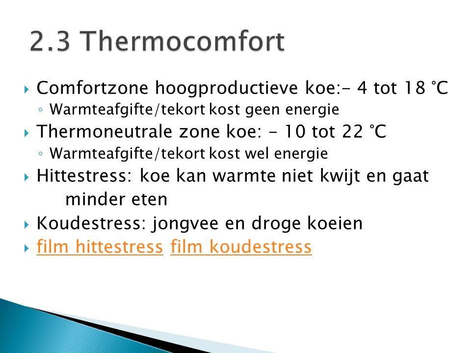  Comfortzone hoogproductieve koe:- 4 tot 18 °C ◦ Warmteafgifte/tekort kost geen energie  Thermoneutrale zone koe: - 10 tot 22 °C ◦ Warmteafgifte/tek