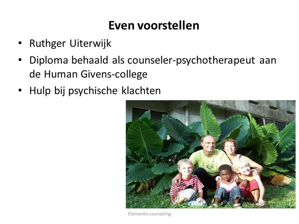 Even voorstellen Ruthger Uiterwijk Diploma behaald als counseler-psychotherapeut aan de Human Givens-college Hulp bij psychische klachten Elementis-counseling