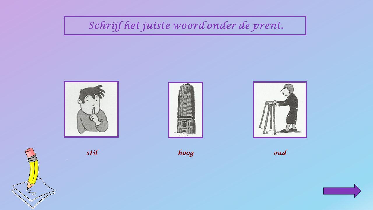 Schrijf het juiste woord onder de prent. ___________ luidoudjonglaagstilhoog