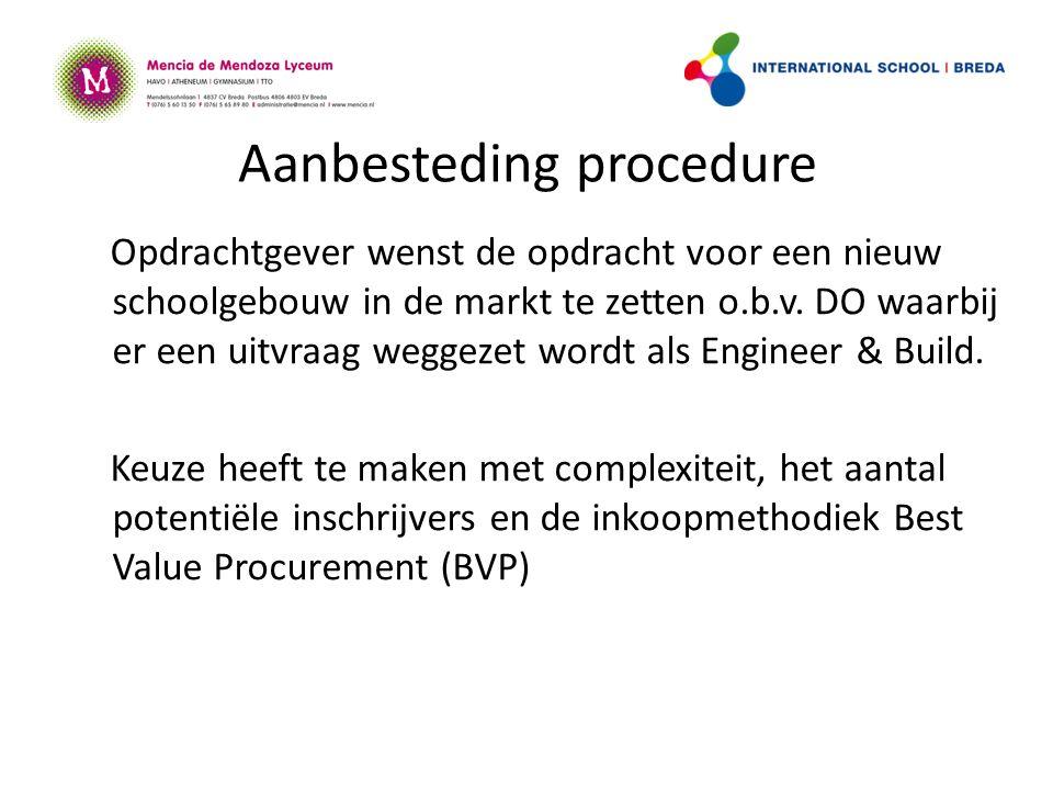 Aanbesteding procedure Opdrachtgever wenst de opdracht voor een nieuw schoolgebouw in de markt te zetten o.b.v.