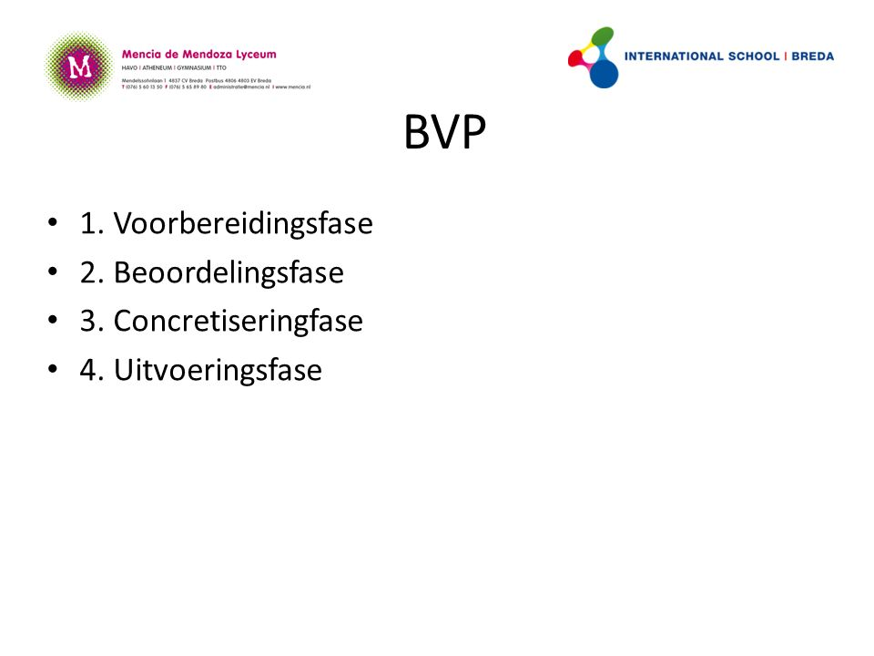 BVP 1. Voorbereidingsfase 2. Beoordelingsfase 3. Concretiseringfase 4. Uitvoeringsfase