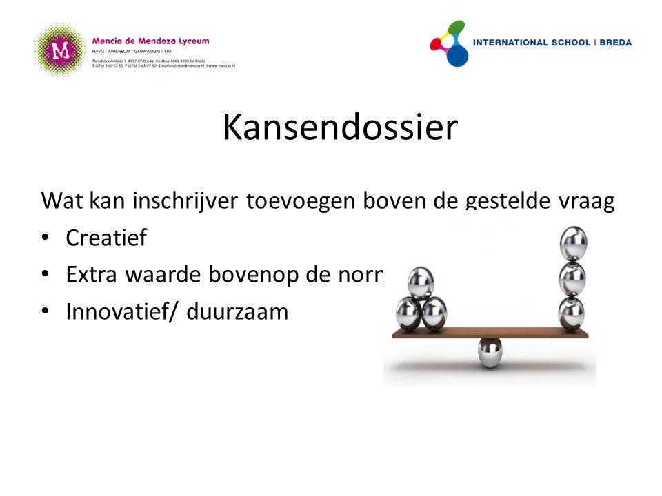Kansendossier Wat kan inschrijver toevoegen boven de gestelde vraag Creatief Extra waarde bovenop de norm Innovatief/ duurzaam
