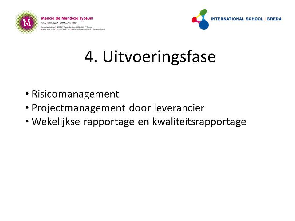 4. Uitvoeringsfase Risicomanagement Projectmanagement door leverancier Wekelijkse rapportage en kwaliteitsrapportage