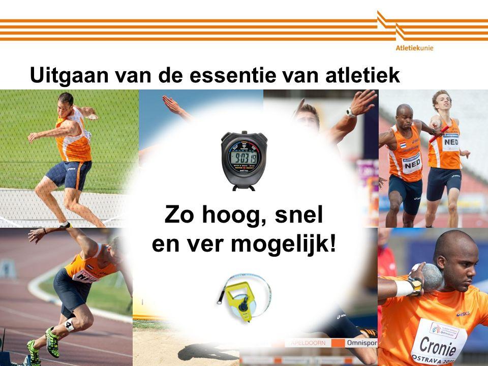 Atletiekunie Uitgaan van de essentie van atletiek Zo hoog, snel en ver mogelijk!