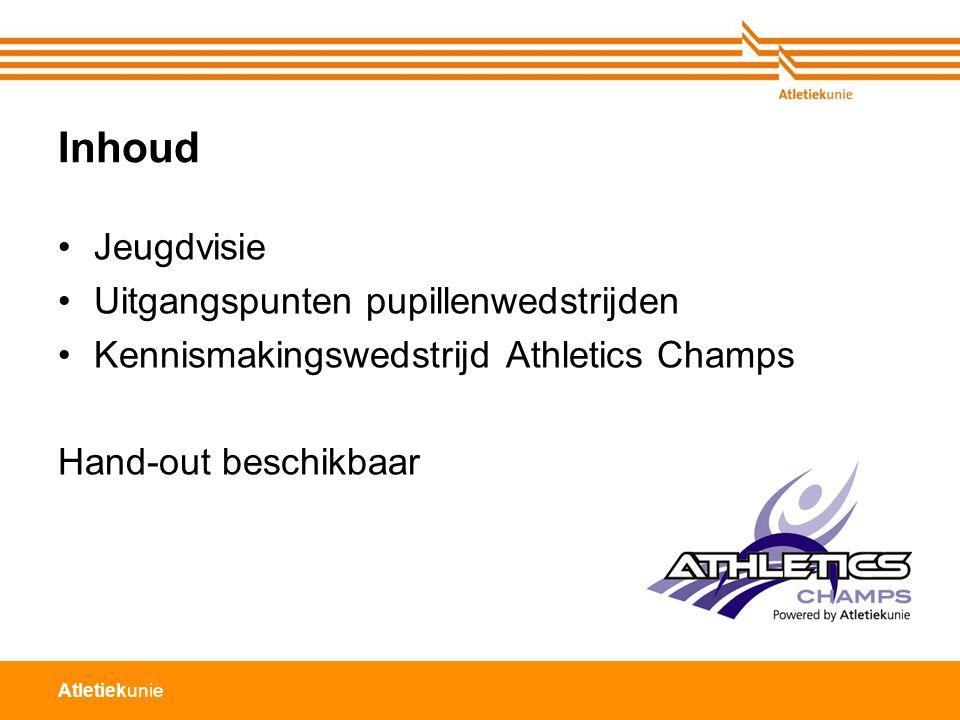 Atletiekunie Inhoud Jeugdvisie Uitgangspunten pupillenwedstrijden Kennismakingswedstrijd Athletics Champs Hand-out beschikbaar