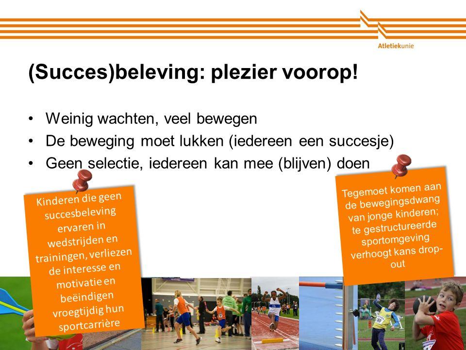 Atletiekunie (Succes)beleving: plezier voorop! Weinig wachten, veel bewegen De beweging moet lukken (iedereen een succesje) Geen selectie, iedereen ka