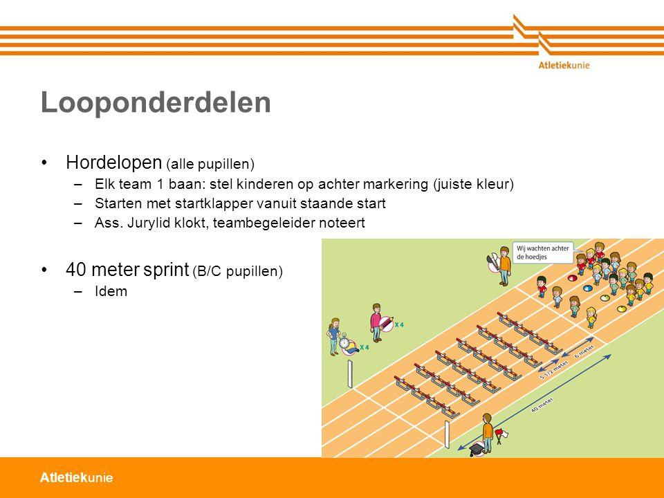 Atletiekunie Looponderdelen Hordelopen (alle pupillen) –Elk team 1 baan: stel kinderen op achter markering (juiste kleur) –Starten met startklapper va