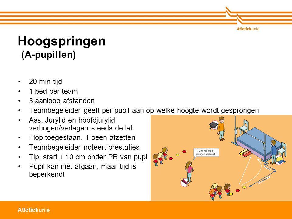 Atletiekunie Hoogspringen (A-pupillen) 20 min tijd 1 bed per team 3 aanloop afstanden Teambegeleider geeft per pupil aan op welke hoogte wordt gespron